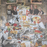 """A Table "" technique mixte collage/peinture 80x120cm"