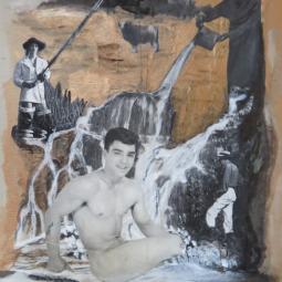 """""""Adonis au bain"""" technique mixte collage/peinture 35X20cm"""