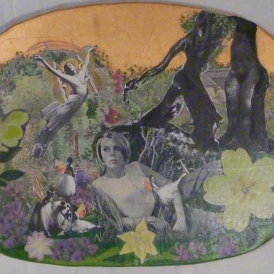 """""""Back garden """" technique mixte collage/peinture sur contre-plaqué 30x50cm"""