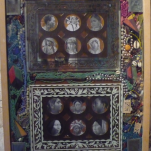 """""""Bead sista's """" technique mixte collage/peinture/perles/bois/coquillages 30x40cm"""