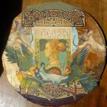 """""""Caprice Epaulette"""" technique mixte collage/peinture/dessin sur bois Diam 30cm"""