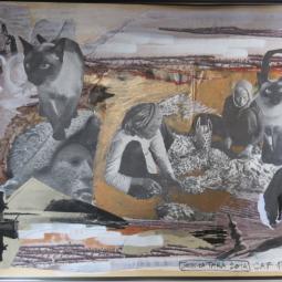 """Cat food"" technique mixte collage/peinture 20x30cm"