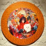 """Chat Rouge"" technique mixte collage/peinture Diam 60cm"