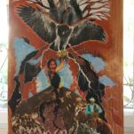 """""""Cœur D aigle"""" technique mixte collage/peinture sur contre-plaqué 30x70cm"""