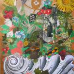 """""""Comme j'ai bien Dormi"""" technique mixte collage/peinture/dessin 50x70cm"""