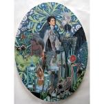 """""""Dame-pluie"""" technique mixte collage/peinture Ovale 40cm"""