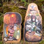 """""""Filles Volcan""""et""""Kokopeliman"""" technique mixte collage/peinture sur contre-plaqué 40x70 et40x100cm"""