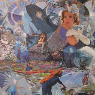 """""""Grand Blues """" technique mixte collage/peinture sur contre-plaqué 120x150cm"""