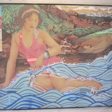 "Post Japan serie ""Holydays in Fukushima "" technique mixte collage/dessin 60X70cm"