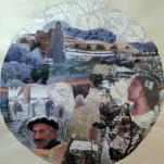 """""""La Mort en hiver 1"""" technique mixte collage/peinture Diam 70cm"""