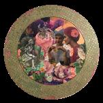 """La vie en Rose"" technique mixte collage/peinture Diam 60cm"