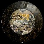 """Gris souris"" technique mixte collage/peinture Diam 30cm"