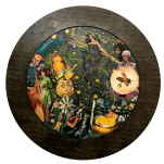 """""""L'or des abeilles"""" technique mixte collage/peinture Diam 50cm"""