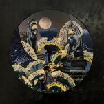 """""""Parapentes de nuit"""" technique mixte collage/peinture 40x40cm"""