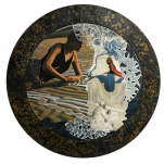 """""""Oasis"""" technique mixte collage/peinture Diam 45cm"""
