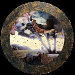 """Graines d étoiles"" technique mixte collage/peinture Diam 45cm"