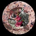 """""""Terre Ferme"""" technique mixte collage/peinture Diam 20cm"""