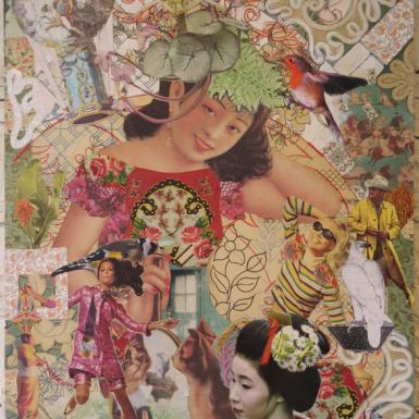 """Post Japan serie """"sans titre """" technique mixte collage/dessin 60X70cm"""