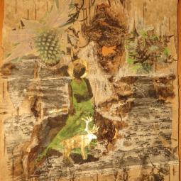"""""""Bark"""" technique mixte collage sur écorce de bouleau/peinture 30x40cm"""