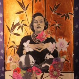 """""""Panda Ladie"""" technique mixte collage/peinture Diam 30x40cm"""