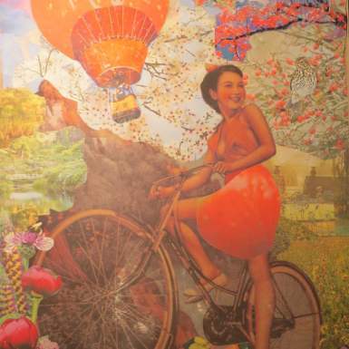 """Post Japan serie """"Strawberry Baloon """" collage 60X70cm"""
