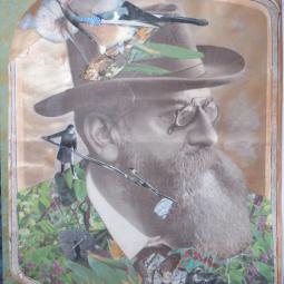 """""""Trimming"""" technique mixte collage/peinture 20x30cm"""
