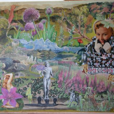 """""""Jardin Terrestre """" technique mixte collage/peinture sur contre-plaqué 60x80cm"""
