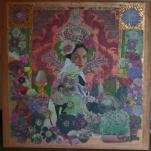 """""""La reine des poires """" technique mixte collage/peinture sur contre-plaqué 50x50cm"""