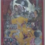 """""""Le cirque de la Reine """" technique mixte collage/peinture 50x70cm"""