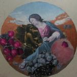 """""""petite Madonne """" technique mixte collage/peinture sur carton 20x20cm"""