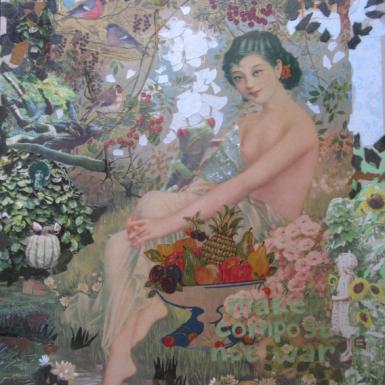 """Post Japan serie """"Make compost not war """" technique mixte collage/dessin 60X70cm"""
