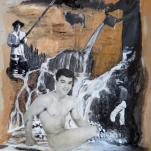 """""""Adonis au bain"""" technique mixte collage/peinture 20x30cm"""