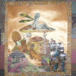 """""""Morilles"""" technique mixte collage/peinture 20x30cm"""