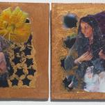 """""""Mota n' Dota """" Diptyque technique mixte collage/peinture sur contre-plaqué 2x15x15cm"""