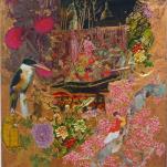 """""""Pink garden of delight """" technique mixte collage/peinture sur contre-plaqué 30x40cm"""