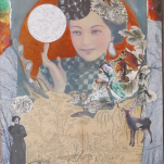 """Post Japan serie """"Poppy Moon"""" technique mixte collage/Peinture 60X70cm"""