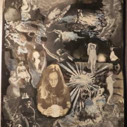 """Black and White serie n°1"" technique mixte collage/peinture 50X60cm"