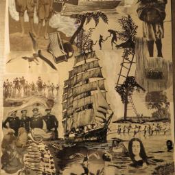 """Black and White serie n°4"" technique mixte collage/peinture 50X60cm"
