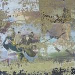 """""""Eau de la Haut """" technique mixte collage/peinture sur miroir (Détail)"""