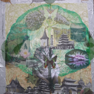 """Tree of Life "" technique mixte collage/peinture 50x70cm"