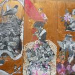 """Tryptique """"fairy school"""" technique mixte collage/peinture sur contre-plaqué 3x10x30"""