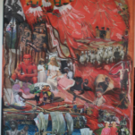 """""""Under Madonna s skurt """" technique mixte collage/peinture sur contre-plaqué 100x170cm"""