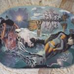 """""""Yoga"""" technique mixte collage/peinture sur contre-plaqué 40x70cm"""