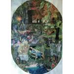 """""""Sans titre vert"""" collage ovale 50x80cm"""